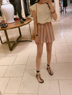 Stripe short pants ; 2 color